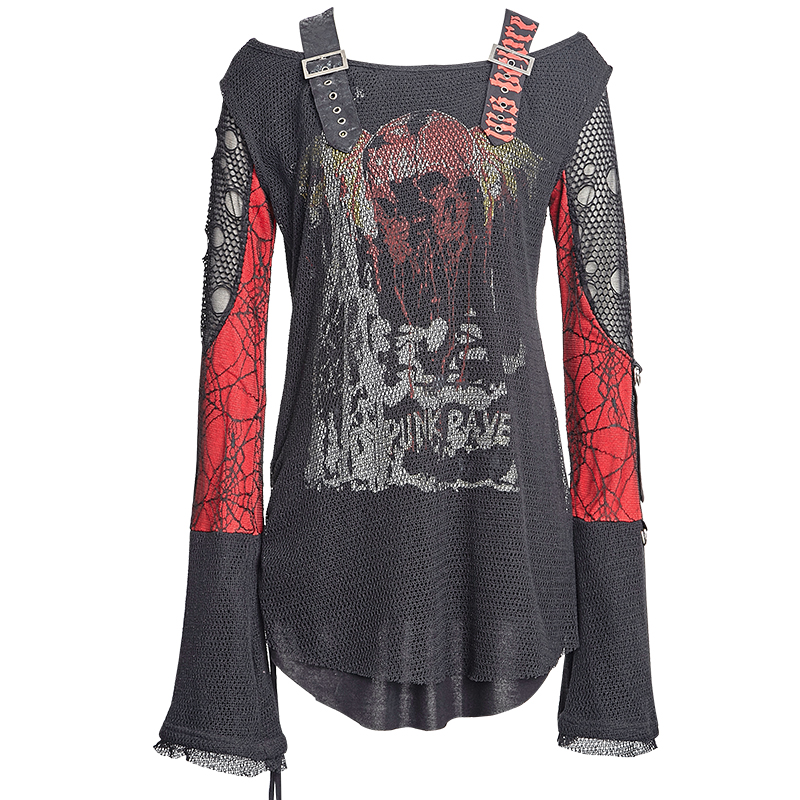 Gothique Punk femmes T-shirt 2018 motif Unique noir rouge o-cou Flare manches t-shirts filles Sexy à manches longues couverture en coton