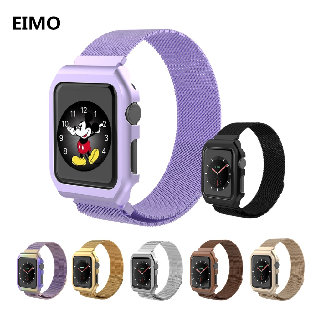 Milanese Loop strap+watch case For Apple Watch band 42mm 38mm iwatch series 3 2 1 Link Bracelet Stainless Steel bands watchband milanese loop watch strap men link bracelet stainless steel woven black for apple watchband 42mm 38mm iwatch free tools