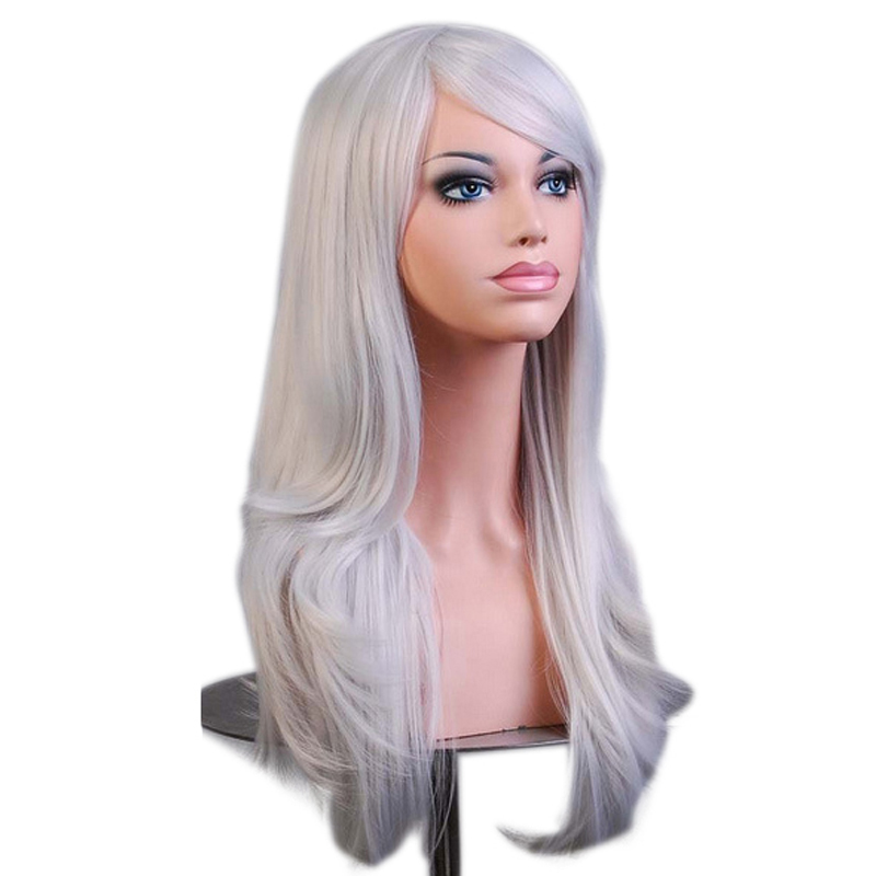 JINKAILI Long Curly Cosplay Wigs Pink Black Red Purple Blonde Grey 65cm Synthetic Hair Wig Heat Resistant