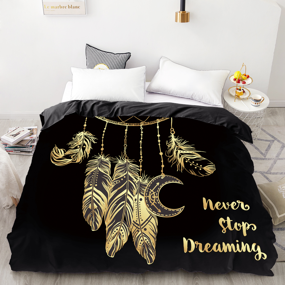 3D HD Digital Printing Custom Duvet Cover,Comforter/Quilt/Blanket Case Queen King Bedding 220x240,Bedclothes Golden Feather