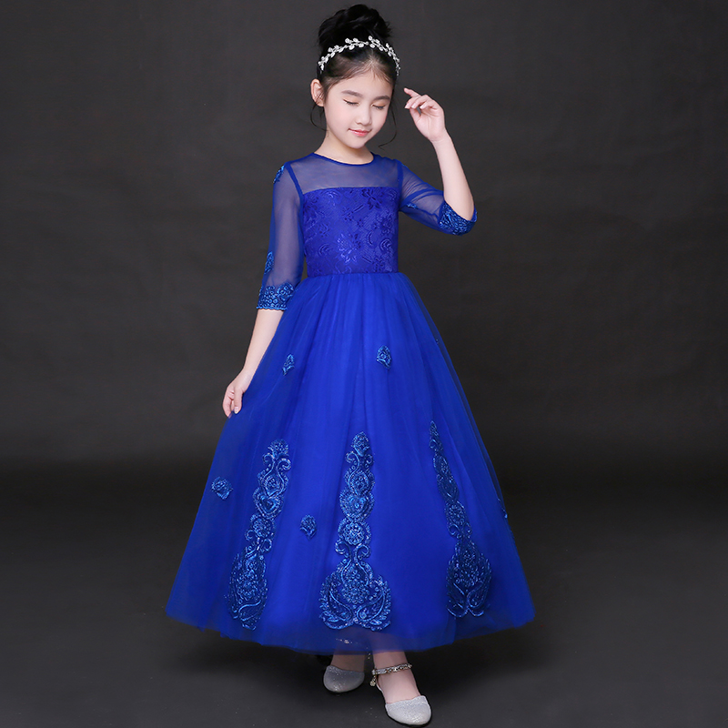 2017 autumn kids girls embroidered lace maxi dress ankle length formal party ball gown prom princess wedding party tutu dresses convertible open back surplice maxi prom wedding formal dress
