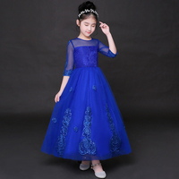 2017 Autumn Kids Girls Embroidered Lace Maxi Dress Ankle Length Formal Party Ball Gown Prom Princess