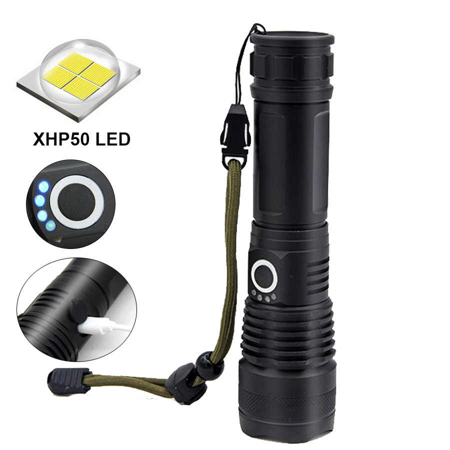 Torch Flashlight Black Kit 500000 Lumens XHP50 5 Mode USB Outdoor Camping Hiking