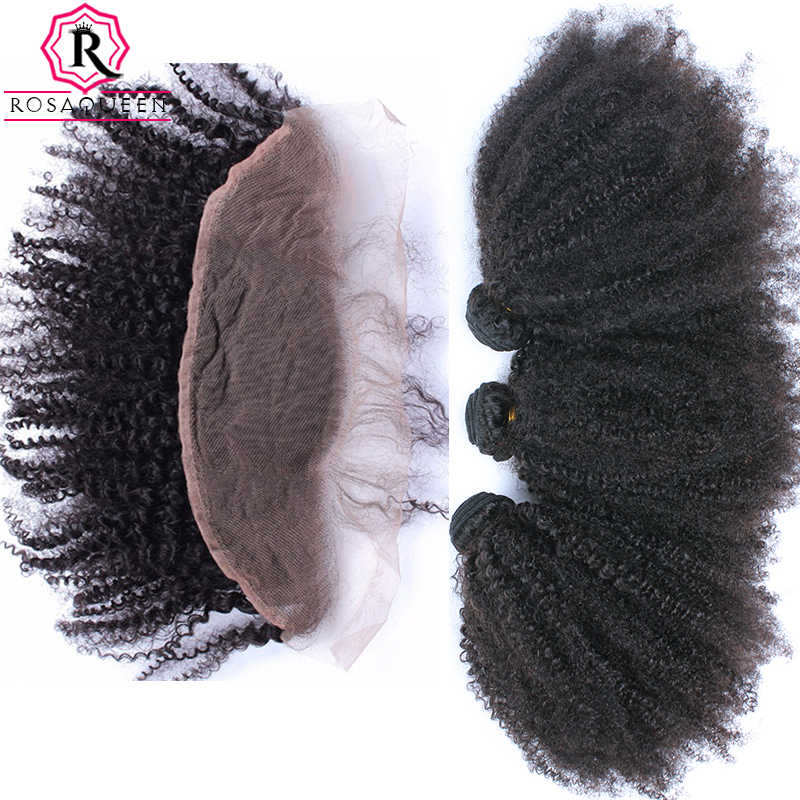 Mongolian Afro Kinky Curly Hair With Closure 3 Human Hair Bundles With Closure 13X4 Lace Frontal Dolago Remy Hair Products