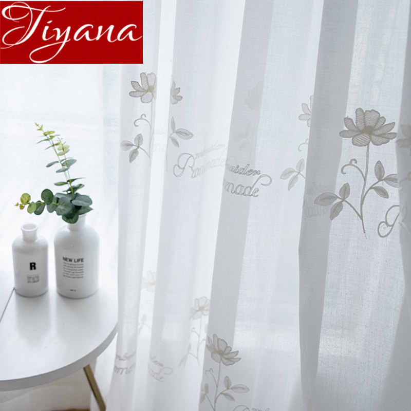 Floral Curtain for Living Room English Design Sheer Fabric Kitchen White Tulle Curtain Drape Window Treatment M051#30