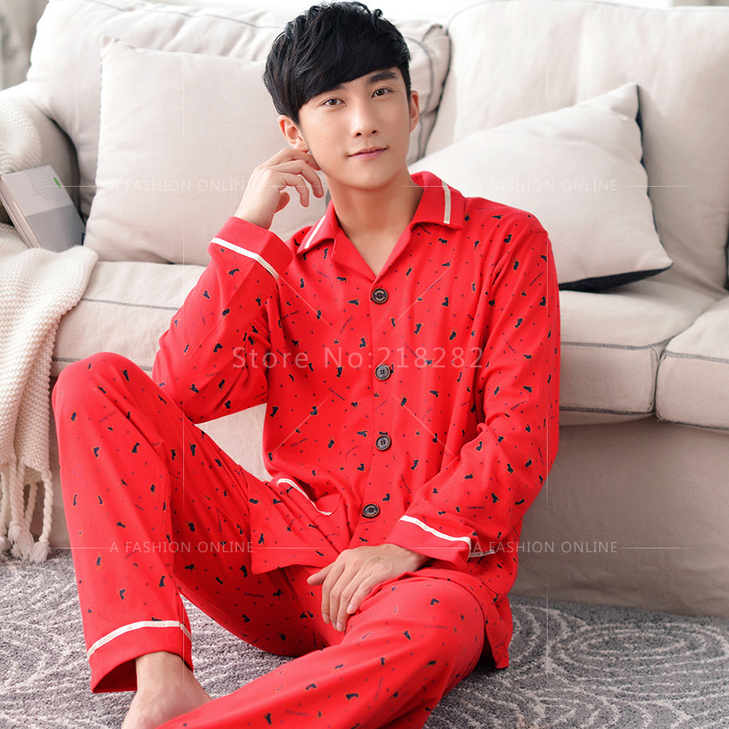 129c017b1d Brand New 100% cotton Pajamas Red Sleepwear Women s Pyjama Femme Turn down  Collar Pajama Set for Couple Pijama Mujer Fashion-in Pajama Sets from Men s  ...