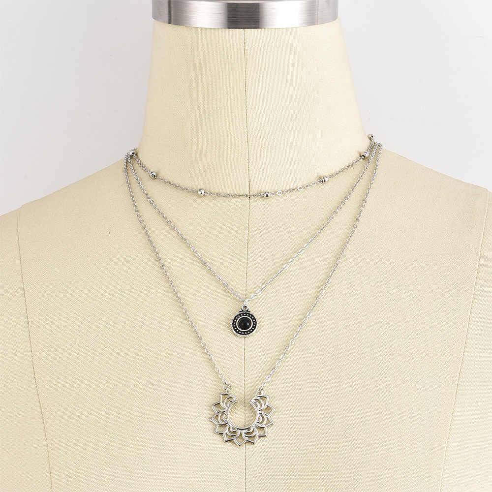Retro หญิงสร้อยคอหยดคริสตัลสีดำวงกลม Lotus เงินหลายชุดสร้อยคอเสื้อผ้าอุปกรณ์เสริม
