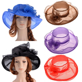 New Hot Women Fashion Large Wide Brim Gauze Hat Summer Charming Church Flat Sunhat