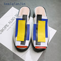 Blue Patchwork Slippers Plus Size 33 - 43 2017 Latest Fashion Woman Slides Black White Shallow Blue Patchwork Slippers China