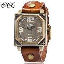 Ccq Брендовые мужские старинные кожаный браслет часы женские повседневные наручные часы класса люкс кварцевые часы Relogio feminino Reloj Hombre подарок 1910