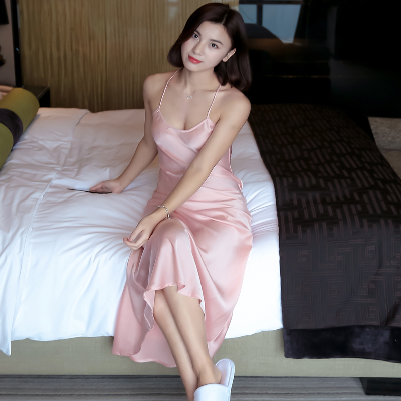 Free Shipping Brand Long Women Summer Night Dress Plus Size Sexy Lace Nightgown Silk Satin Nightdress Night Gown Nightwear