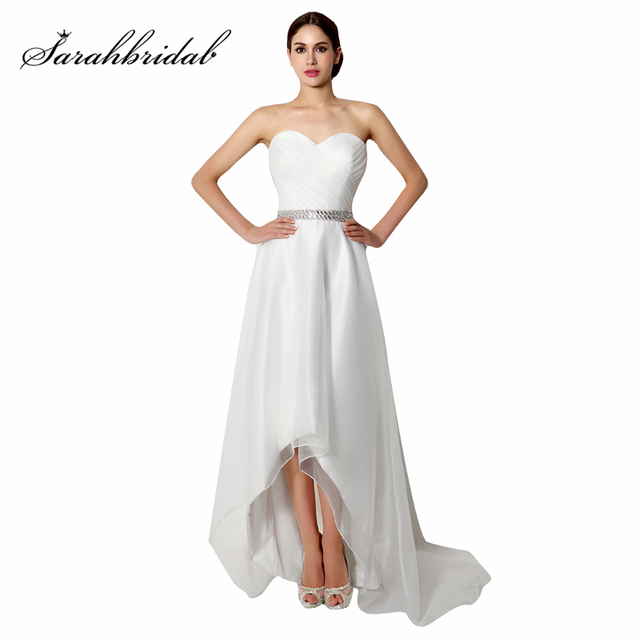 Cheap High-Low Sweetheart Wedding Dresses Simple Beach Dress Chiffon Pleat  Beading Sashes Lace Up e8f851f53eec
