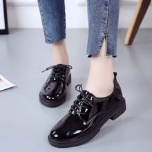 2018 autumn Shoes Women Casual lace-up Black Oxford Shoes Women Flats Comfortable Slip on Women Shoes Mujer Plus size 35-40