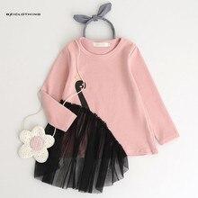 Фотография 2017 Autumn Girls Clothes Children Girls Full T-Shirt Cartoon Swan Mesh Girl Shirts Children Clothing Blouse For 3-7Y 4 designs