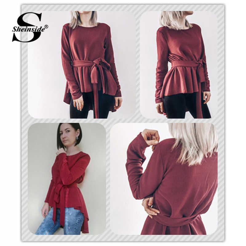 81f939eefa9 ... Sheinside Burgundy Long Sleeve Shirt Women Elegant Blouse 2018 Ladies Top  Self Belted Asymmetrical Hem Womens