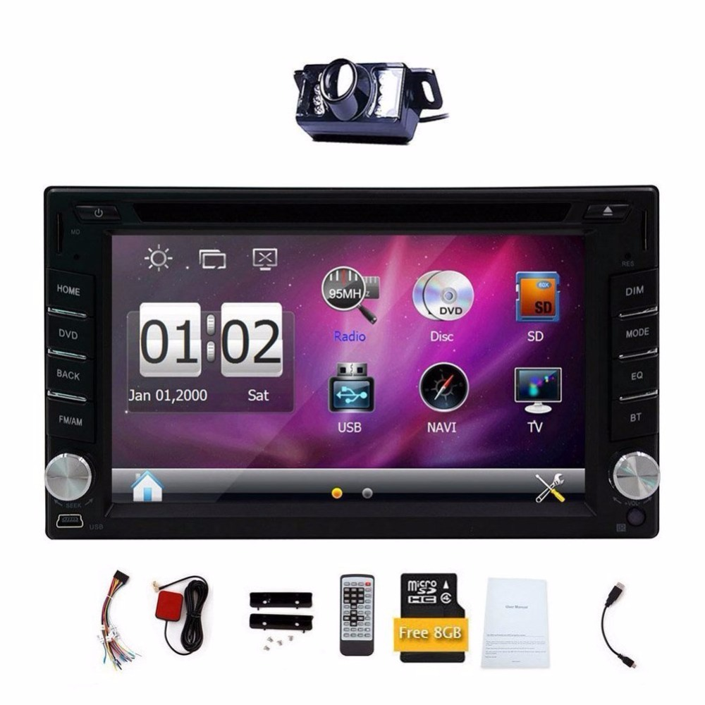2 Din Digital Touch Screen Car DVD Player GPS Navigation Car Stereo Built-in Bluetooth Radio Audio Player FM AM RDS+Free Camera 6 2 wince6 0 free 8gb map camera for 2din universal car dvd player radio stereo gps navigation bluetooth stereo fm am rds aux