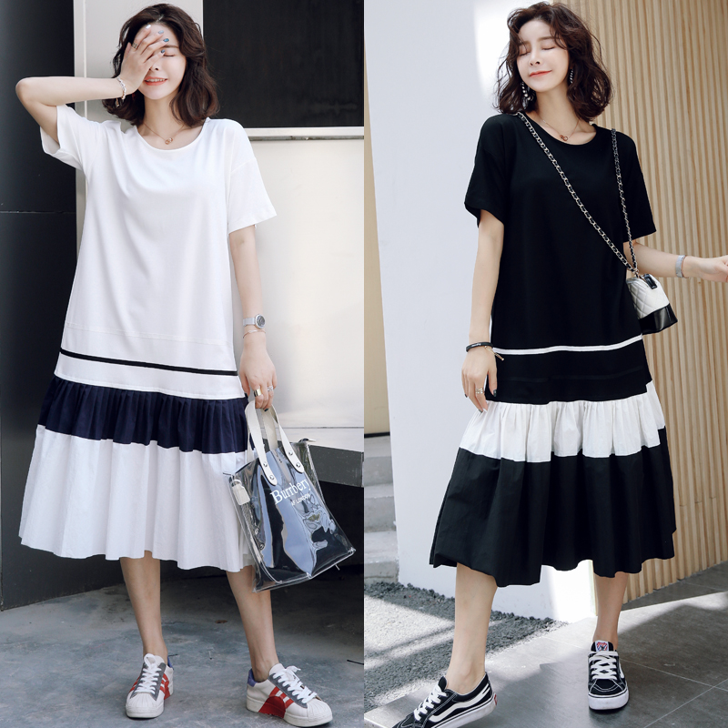 9115  Pregnant woman's loose 100 fold short-sleeved dress long size pregnant woman's super-hot dress