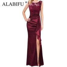 ALABIFU Summer Dress Women 2019 Sexy Split Hollow Out Lace Dress Elegant Embroidery Long Party Dress Black Maxi vestidos 2XL