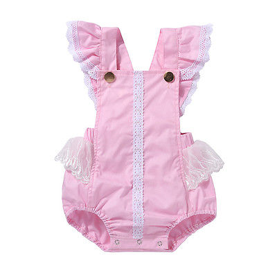 Sweeety Newborn Baby Girls Lace Button Ruffle Sleeveless Romper Jumpsuit Outfits Sunsuit Summer Baby Girl Clothes Onesie newborn infant baby clothes girls floral lace off shoulder ruffle romper jumpsuit outfit sunsuit summer one piece baby onesie