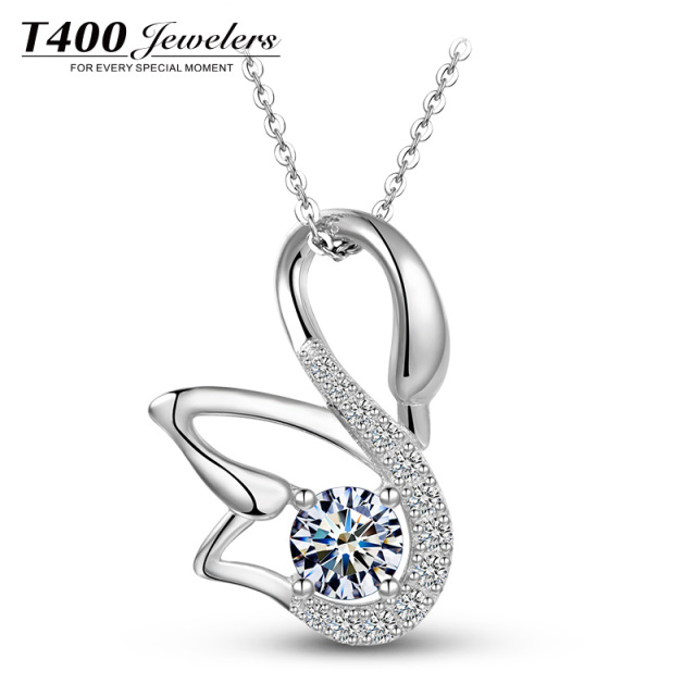 T400 Jewelers Cute Swan Pendant Necklace Made with Swarovski Elements  Crystal,100%925 Silver Fashion Necklace Jewelry#11169