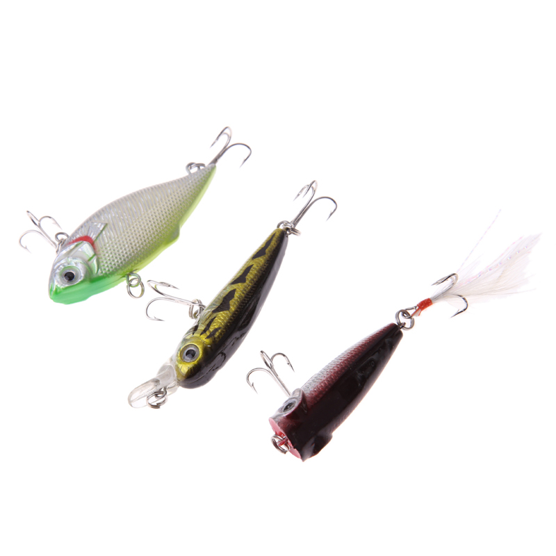 3pcs Lot Fishing Lures Mixed Set Minnow Crankbaits Topwater Popper Hook Fishing Artificial Baits Swimbaits Fishing Accessories 3pcs lot fishing lures mixed set minnow crankbaits topwater popper hook lure spinner baits crankbait bass wobbler tackle hook