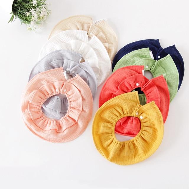 3Pcs Baby Bibs Pure Cotton 360 Degree Burp Cloths Soft Breathable Bandana Bibs For Boys Girls Fashion Collar Cute Scarf For Kids