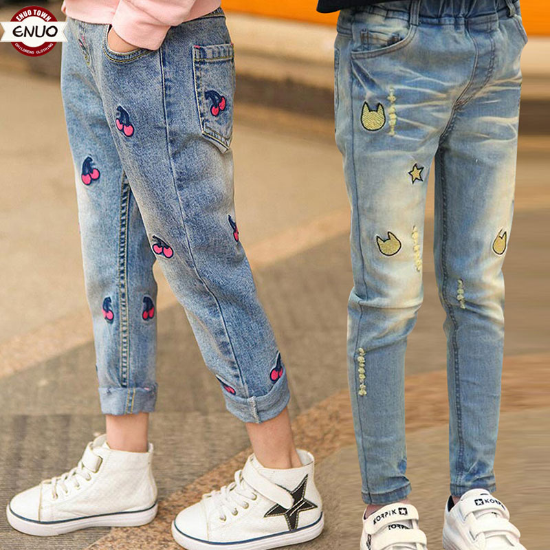 Children's Clothes Girls Autumn Cotton Pants Kids Casual Jeans Leggings For 2T To 14 T Baby Cartoon Hole Trousers Pencil pants