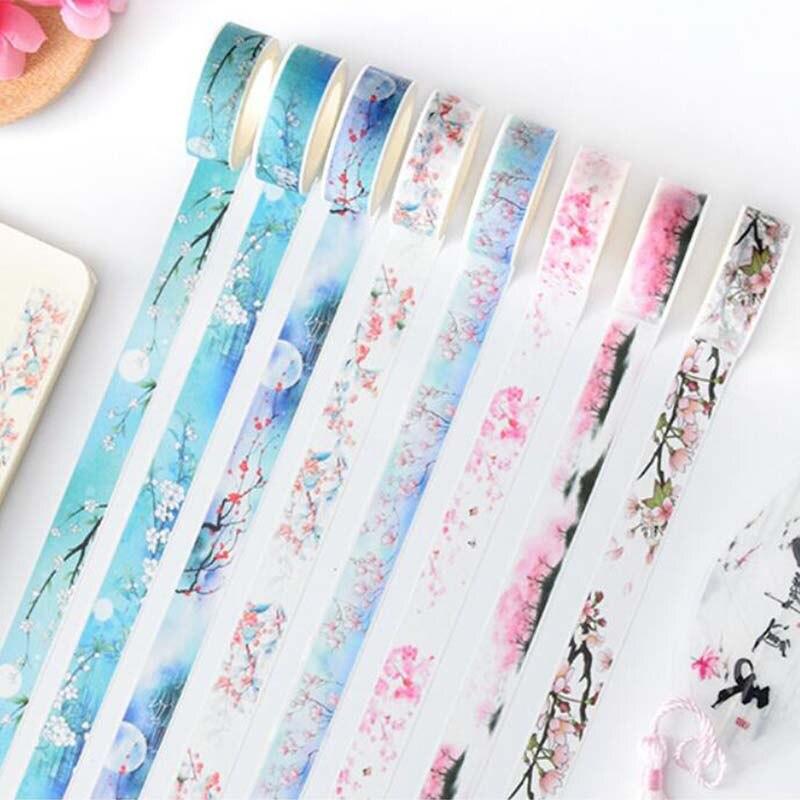 15mm*7m Flower Decorative Washi Tape Cute DIY Scrapbooking Masking Tape DIY Decoration Sticker Label School Supplies