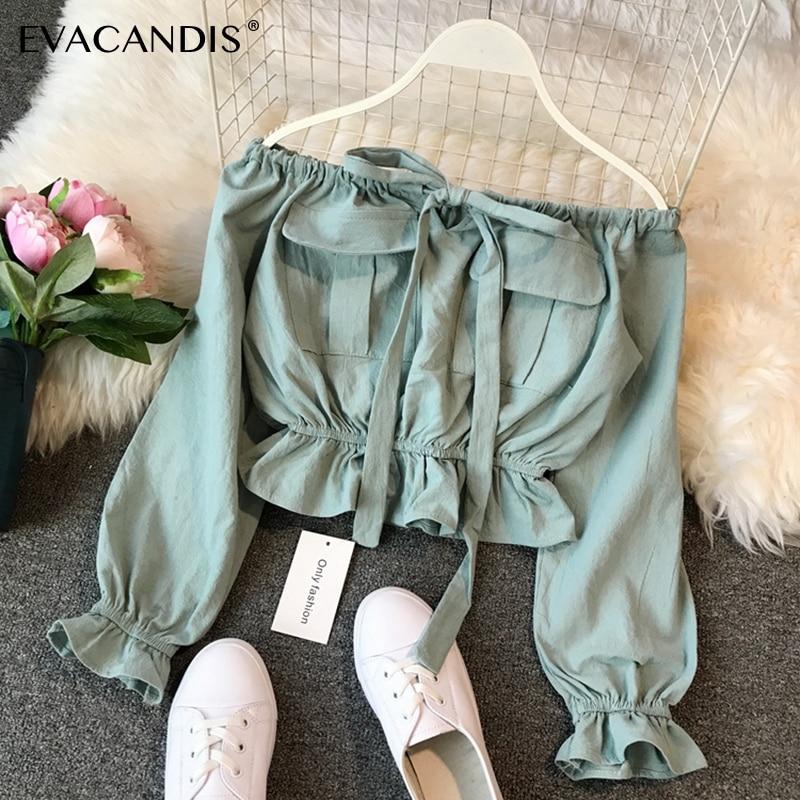 Ruffle Crop Top Off Shoulder Long Sleeve Sexy Korean Spring Boho Bow Tunic Yellow White Green Pink Short Blouse Women Shirt