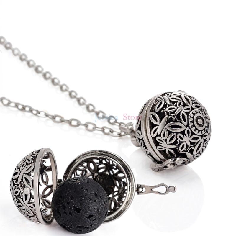 5 Stücke Antik Silber 16mm Lava Stein Ätherisches Öl Diffusor Halsketten Für Aromatherapie Halskette