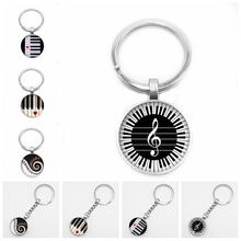 2019 New Heart-shaped Piano Love Pattern Pendant Round Key Ring Glass Convex Keyboard Dome Gift