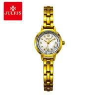 Юлий Новинка 2017 года модный бренд японские кварцевые movt дизайнер Часы Для женщин часы золотой браслет дамы молодая девушка Часы JA-865