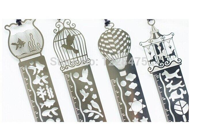 1pcs/lot NEW Retro Zakka Style Metal Bookmark Ruler Drawing Template