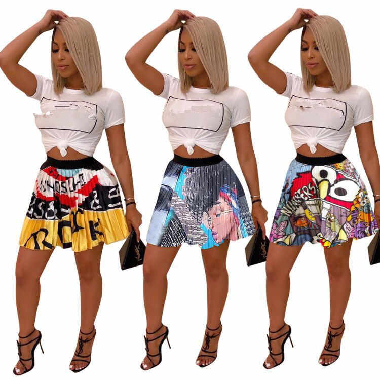 2019 XXL new women summer eye mouth cartoon print vintage Mini pleated skirts party club fashion active wear skirt outfit Z022