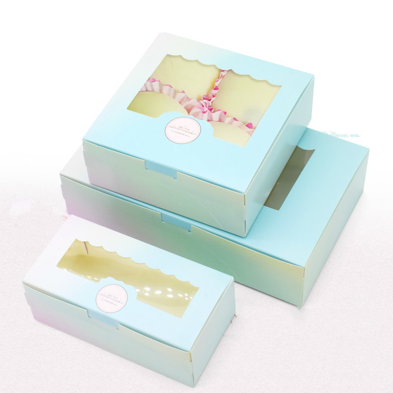 10 Pcs Gift Paper Box With Window Birthday Wedding Party Kraft Paper Box Packaging Candy Cookies Cup Cake Gift Boxes Cardboard