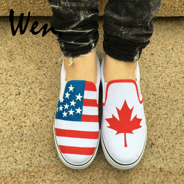 b417c61fa4b2 Wen Hand Painted White Slip On Shoes Custom Design American Flag Canada  Flag Maple Leaf Man Woman  Canvas Sneakers Plimsolls