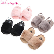 Sandaler för tjejer Baby Girl Shoes Mode Faux Fur Skinny Baby Shoes Barn Sommar Baby Sandaler Slipper Baby Girl Sandals