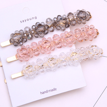hair barrettes flower tiara pins for women crystal clip jewelry pince cheveux femme