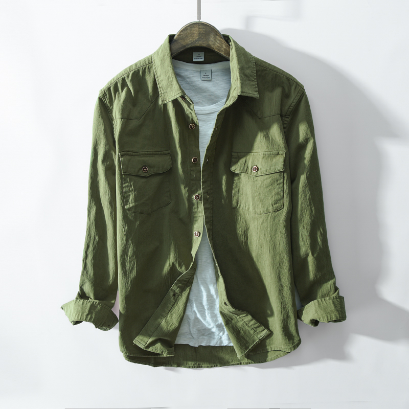LFF 2018 New Arrival Spring And Autumn Men Fashion Green Khaki Color Long Sleeve Cotton Shirt Male Casual Vintage Shirt Clothes