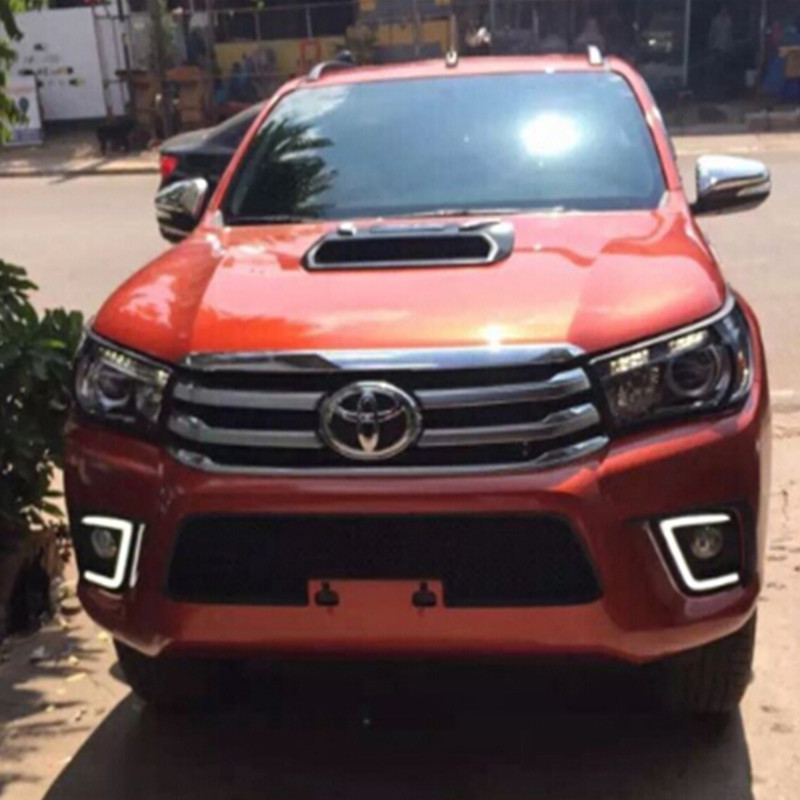 Car Accessories LED Daytime Running Light LED Fog Lamp DRL For Toyota Hilux Revo Vigo 2015 2016 With Yellow Turn Signal revo fog lamp waterproof led car drl daytime running lights accessories for toyota hilux vigo champ 2015 2016 year
