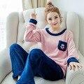 2016 Inverno Senhoras Gilrs Patchwork Mangas Compridas Rosa Quente Coral de Veludo Terno Casa estrias Biscoitos Macios Pijamas Set com Bolso