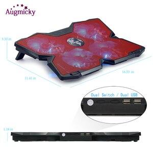 """Image 5 - Jogo profissional computador portátil cooler almofada de refrigeração com led 4 fãs usb 2.0 notebook suporte para macbook/dell/asus14 """"15.6"""" 17 polegada"""