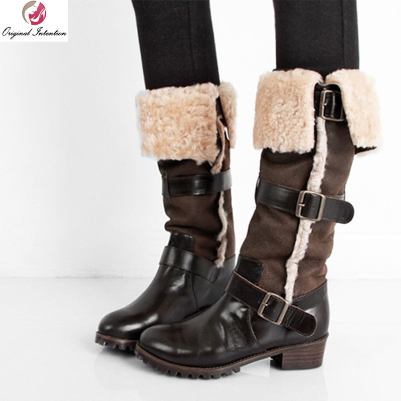 Original Intention High-quality Women Mid-Calf Boots Round Toe Square Heels Boots Beautiful Black Shoes Woman US Size 4-10.5 double buckle cross straps mid calf boots