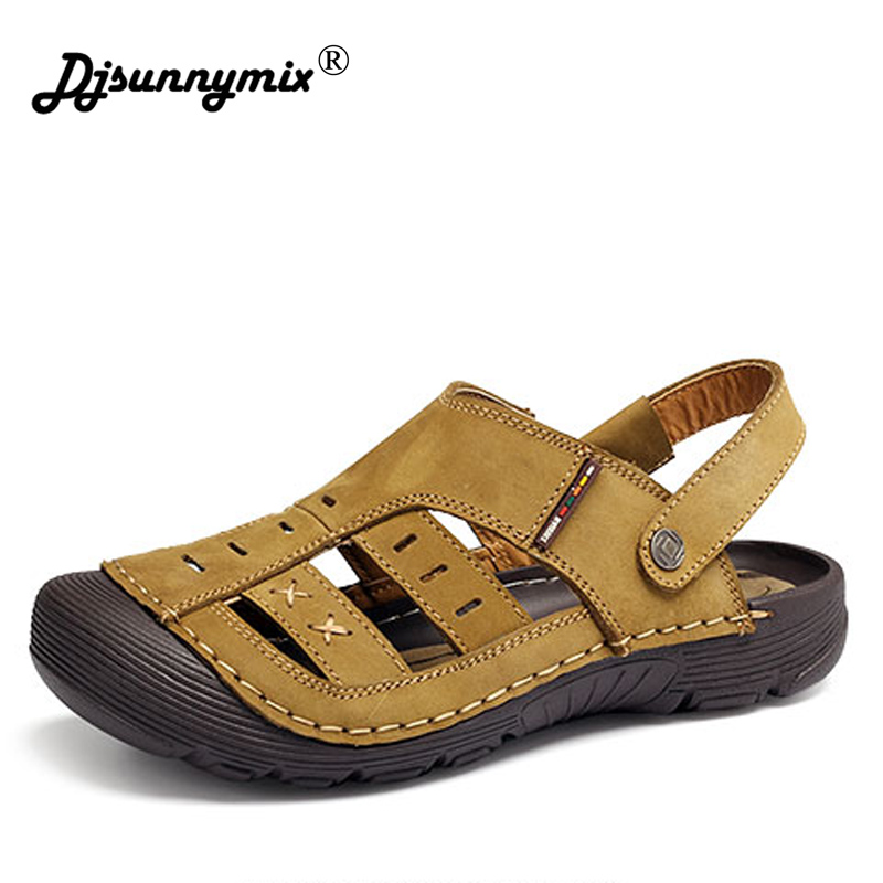 Hot Sale New Fashion Summer Leisure Beach Men Shoes High Quality Cowhide Leather Sandals The Big Yards Mens Sandals Size 38-44