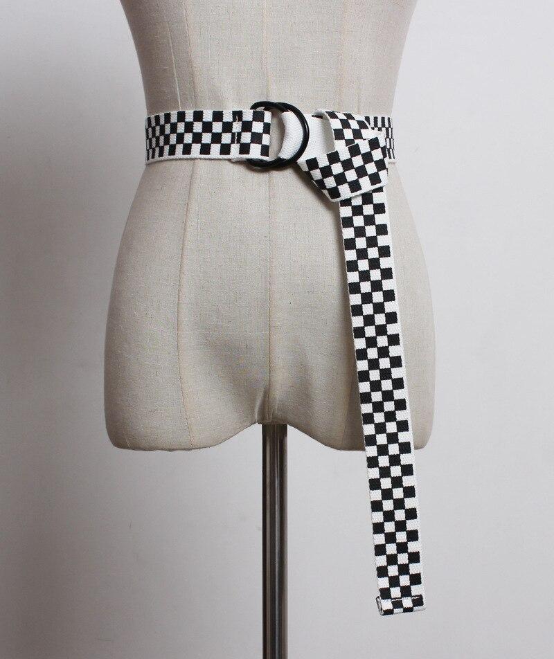 Plaid Belt Checkerboard-Belts Canvas Black White Cummerbunds Casual Women 135cm YF14