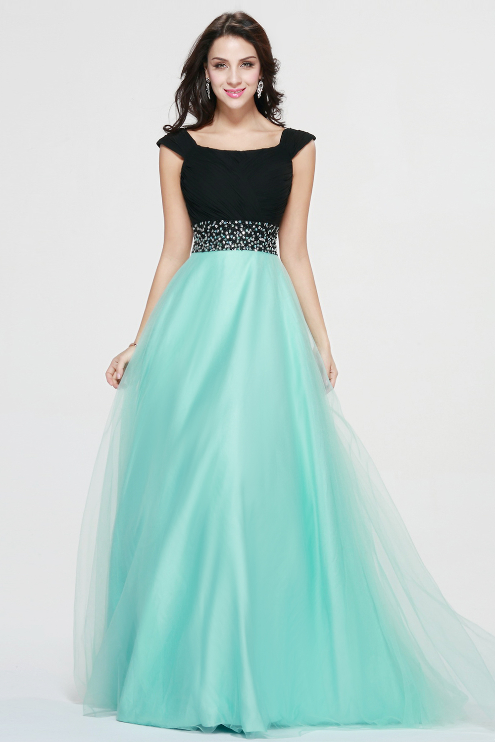 Elegant Black And Green Long Prom Dress Two Color Long Formal ...