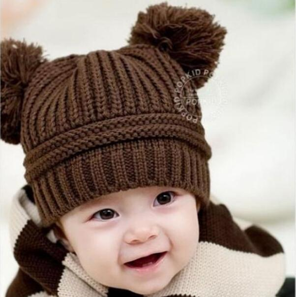 Winter Autumn Knitted Newborn Crochet Baby Hat Girl Boy Wool Cap Children  Beanie Infant Toddlers Sweater Knit clothes accessory dd4144a1a462