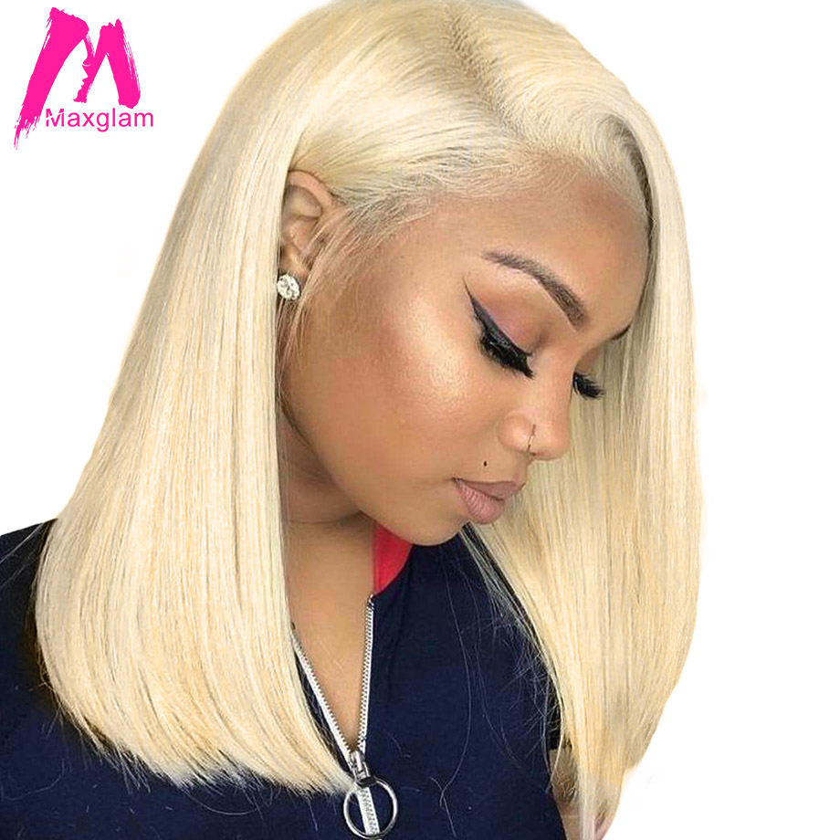 Blonde Lace Front Wig Brazilian 613 Short Bob 13x4 lace front human hair wigs for black