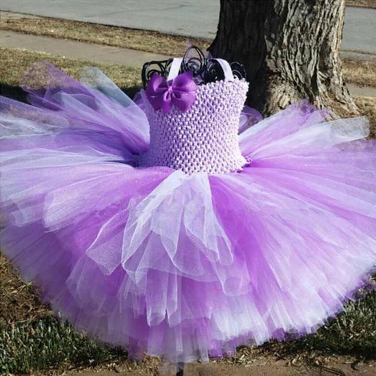 Vestidos infantis de crochê, conjunto de 2 camadas com tutu, laço e tiara com laço gorgurão, princesa, festa vestido de vestido