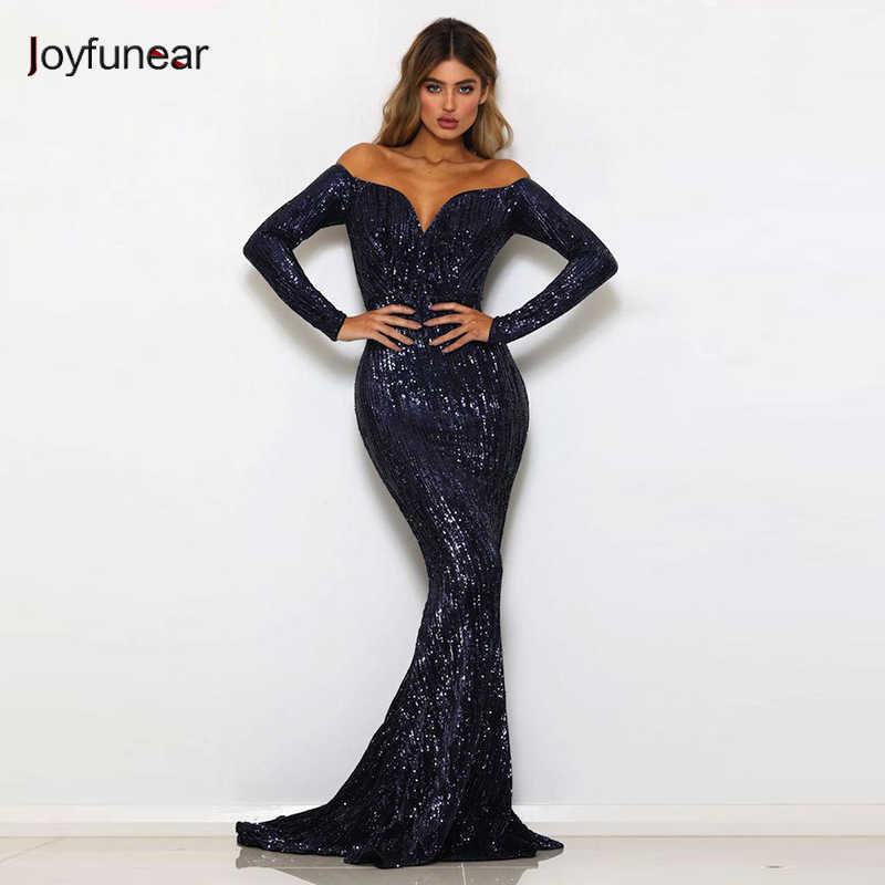 Joyfunear Off Shoulder Sequin Sexy Summer Dress Women 2018 New Mermaid  Bling Bodycon Maxi Dress Elegant 17a6811bc479
